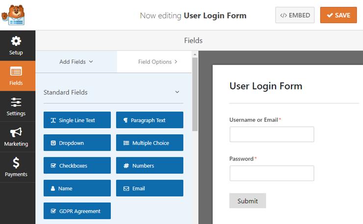 Wordpress中的用户登录表单