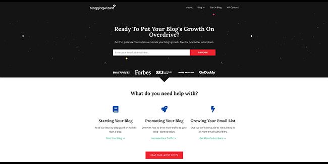 主页上的Blogging Wizard布局