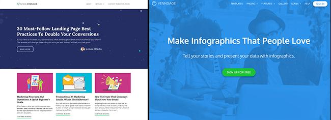 Funnel Overload和Venngage博客与网站比较