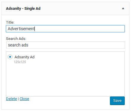 AdSanity评论-单个小部件