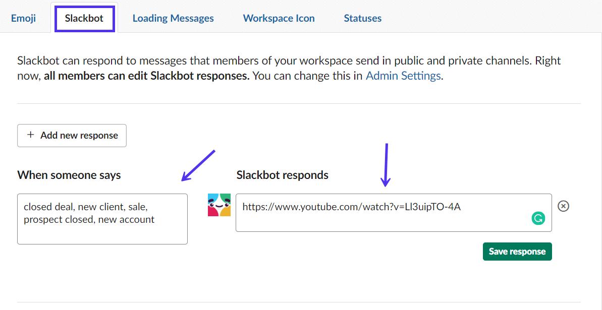 Slackbot自定义响应