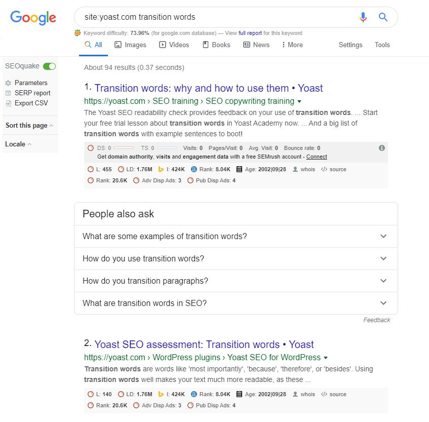 Google搜索Yoast中有关过渡词的帖子。