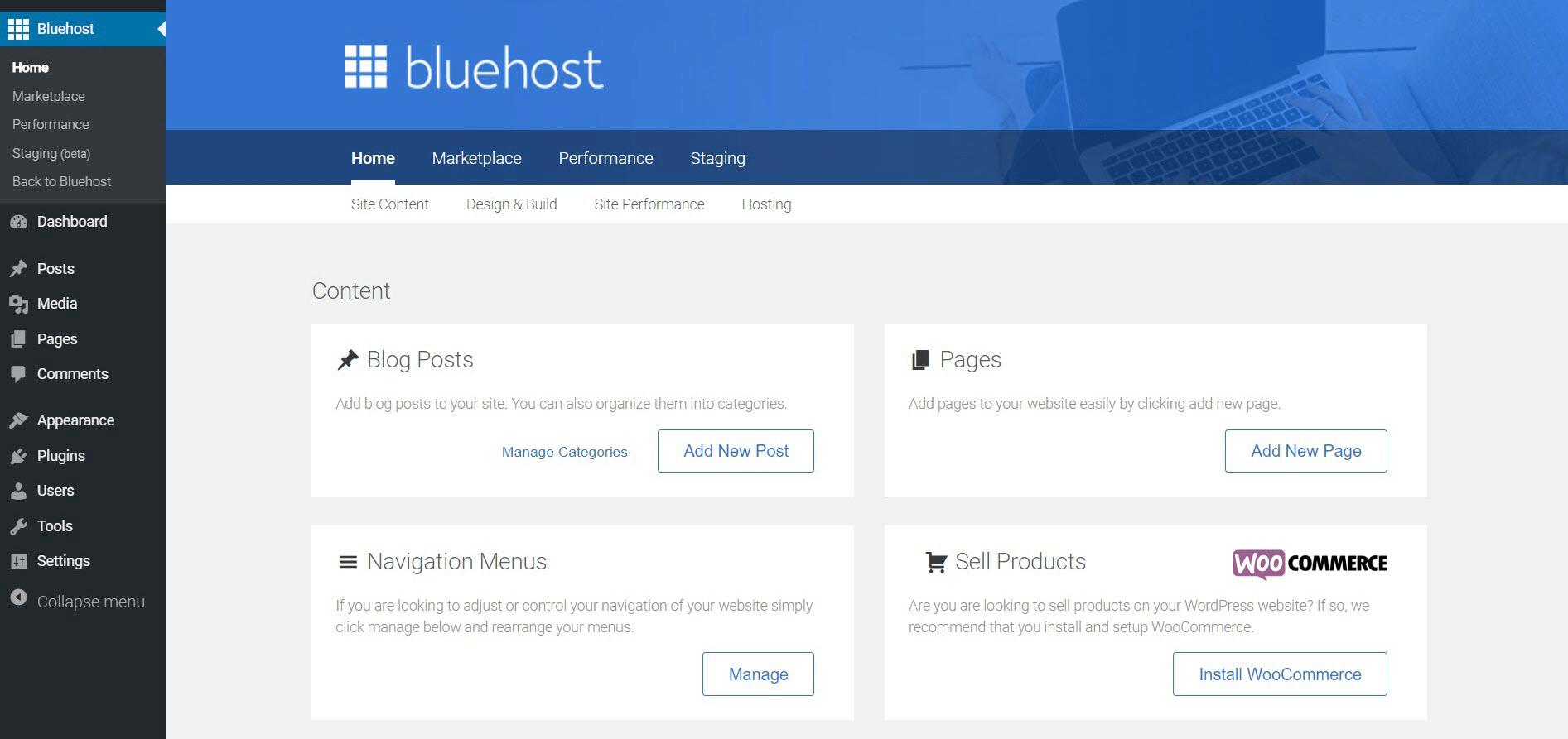 Bluehost vs Hostinger-Bluehost菜单