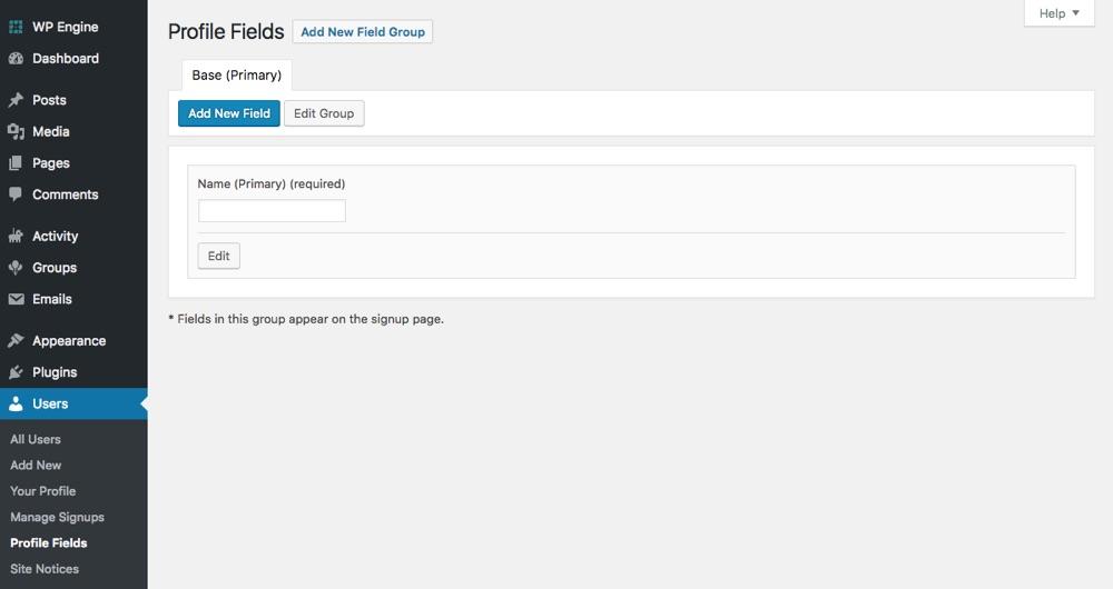 BuddyPress自定义配置文件字段