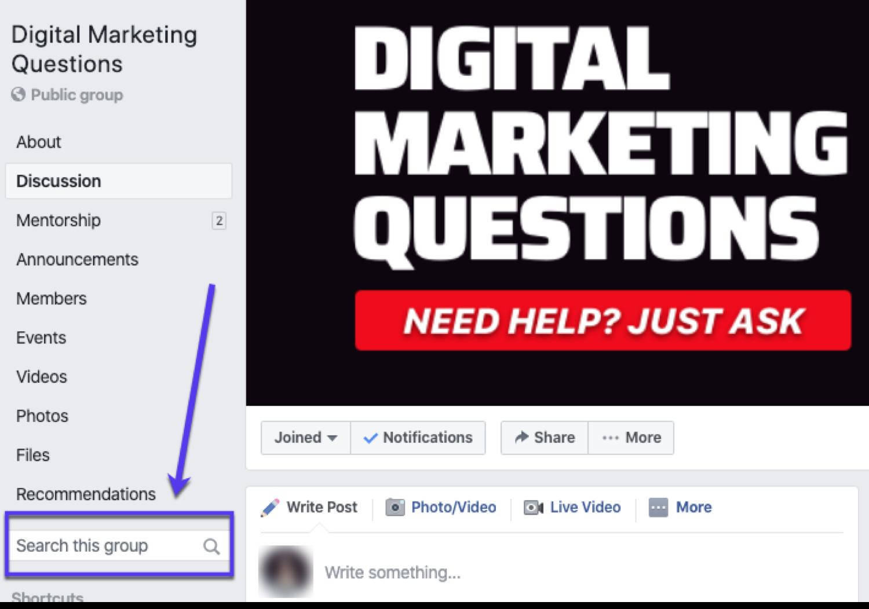 Digital Marketing Questions是一个受欢迎的Facebook集团