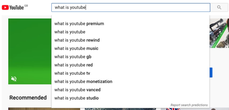 YouTube search works like Google