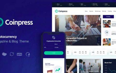 Coinpress v1.0.2 – ICO加密货币杂志和博客WordPress主题