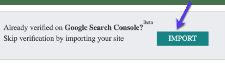 将Search Console设置导入到Bing中