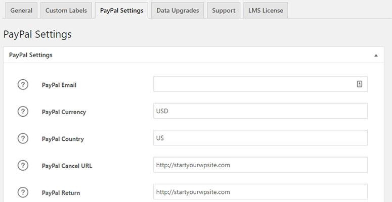 LMS PayPal设置