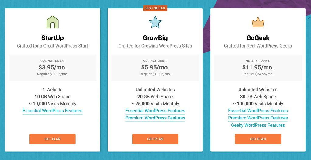 InMotion与SiteGround的SiteGround托管价格