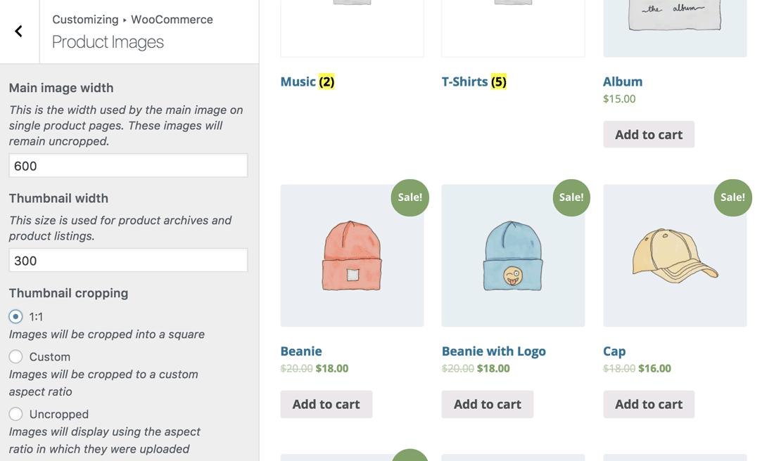 通过WordPress Customizer自定义WooCommerce的产品图片