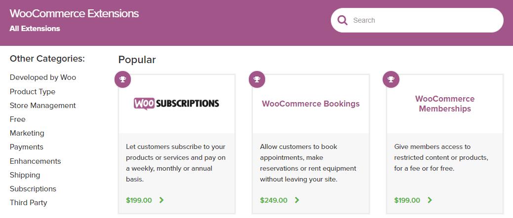 WooCommerce扩展商店页面