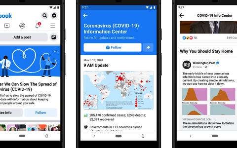 Facebook将COVID-19信息置于用户的新闻源之上