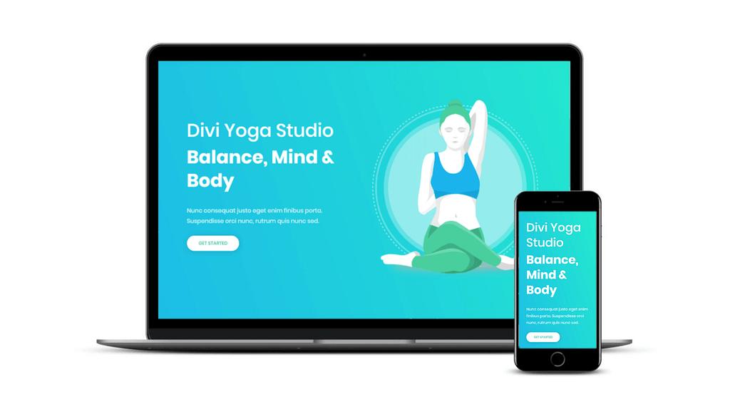 台式机和手机上的Divi Yoga包。