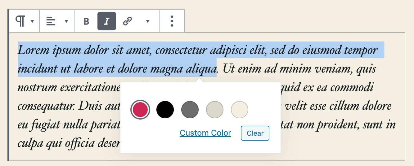 WordPress 5.4:RichText颜色