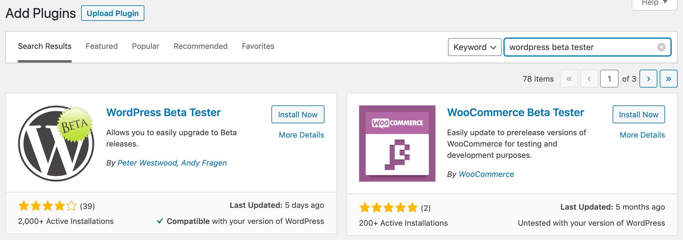 WordPress Beta测试器