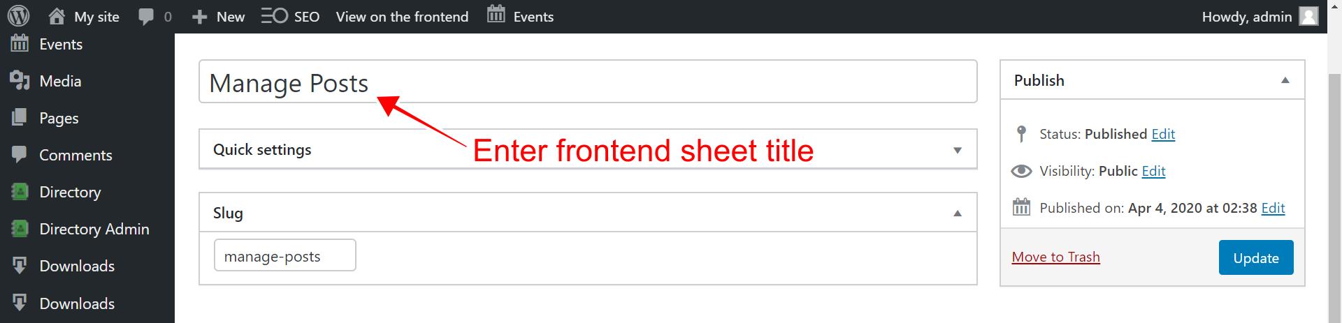 WordPress –如何为前端创建可编辑的帖子表