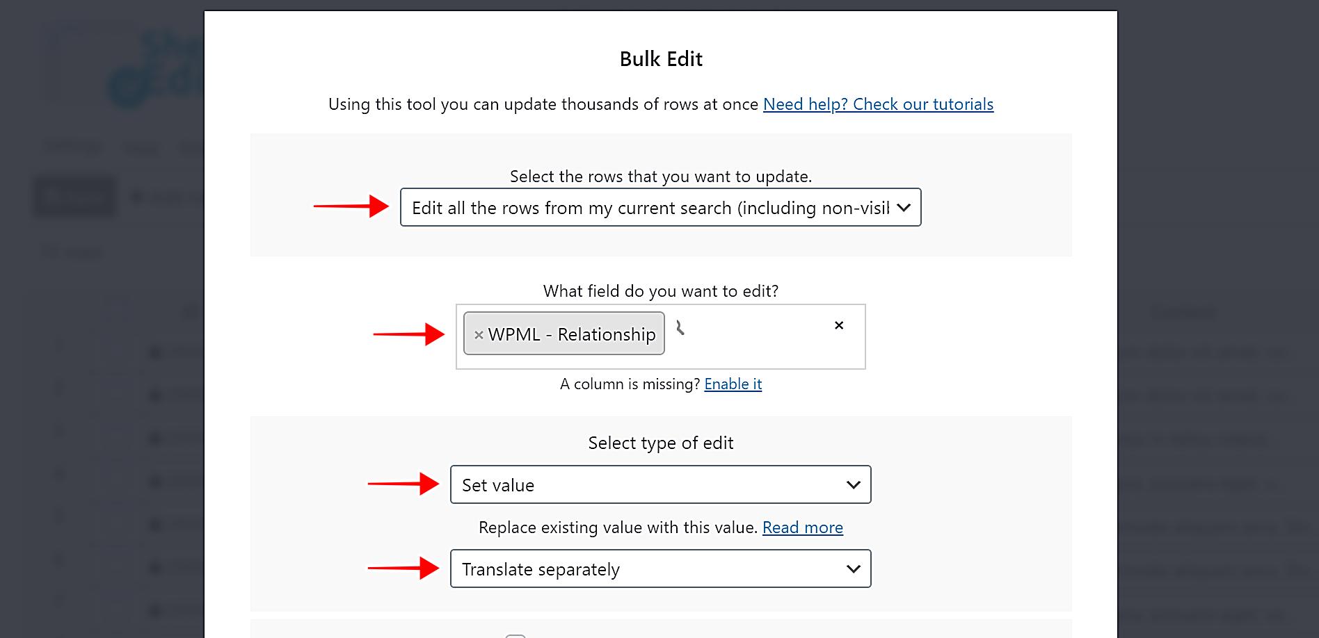 WPML –将所有翻译标记为重复或分开