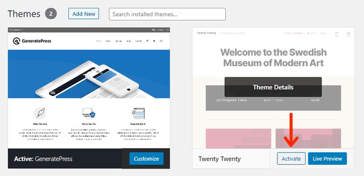 Activate-Default-WordPress-Theme