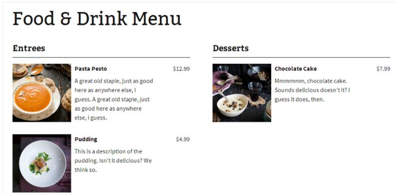 五星级餐厅菜单
