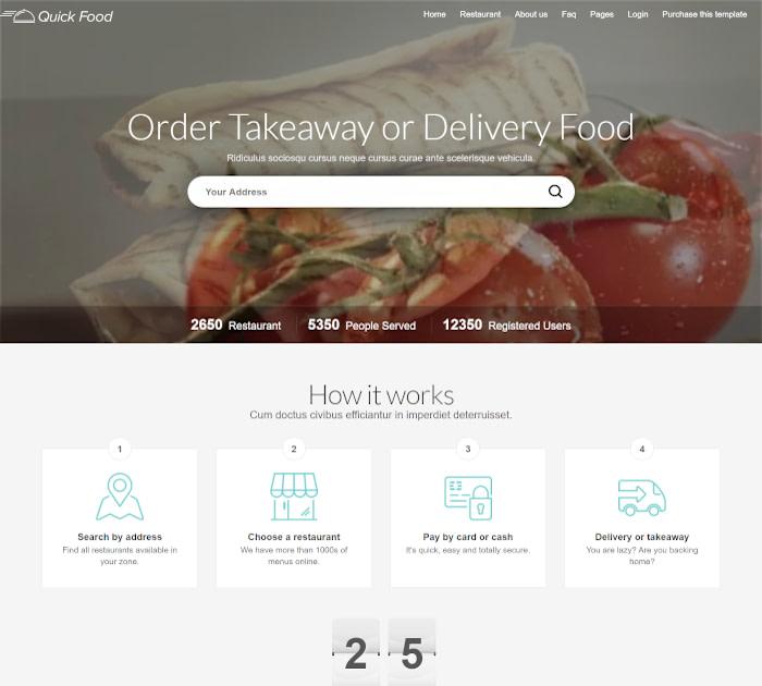 最佳送餐WordPress主题:QuickFood