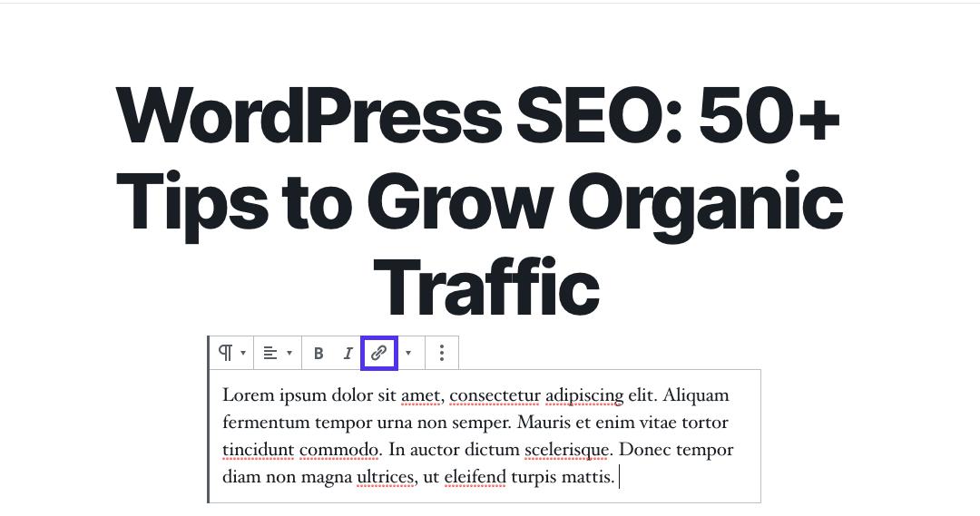 WordPress SEO:块编辑器中的添加链接按钮