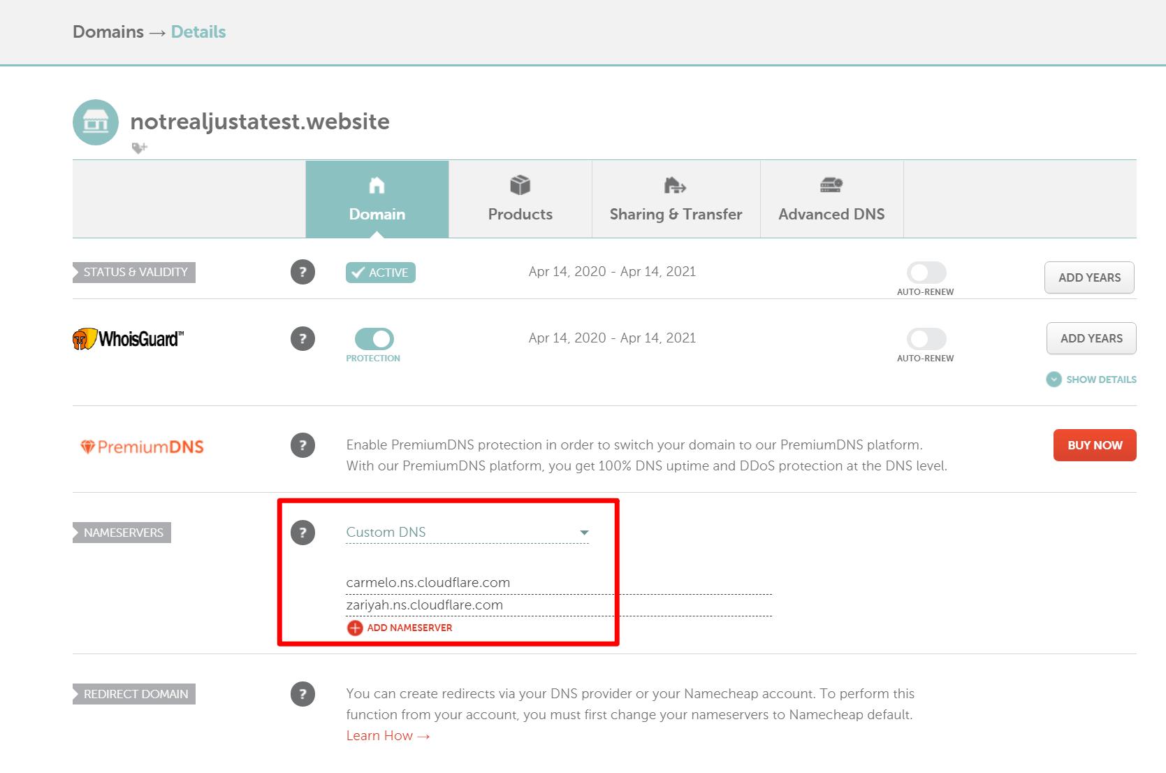 Namecheap的新名称服务器