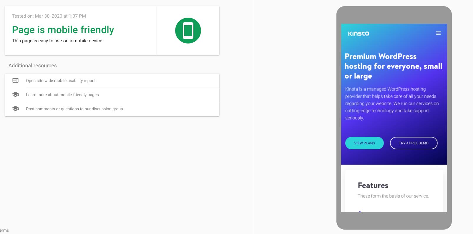 The Kinsta website in Google's mobile-friendly test.