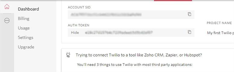 Twilio令牌详细信息