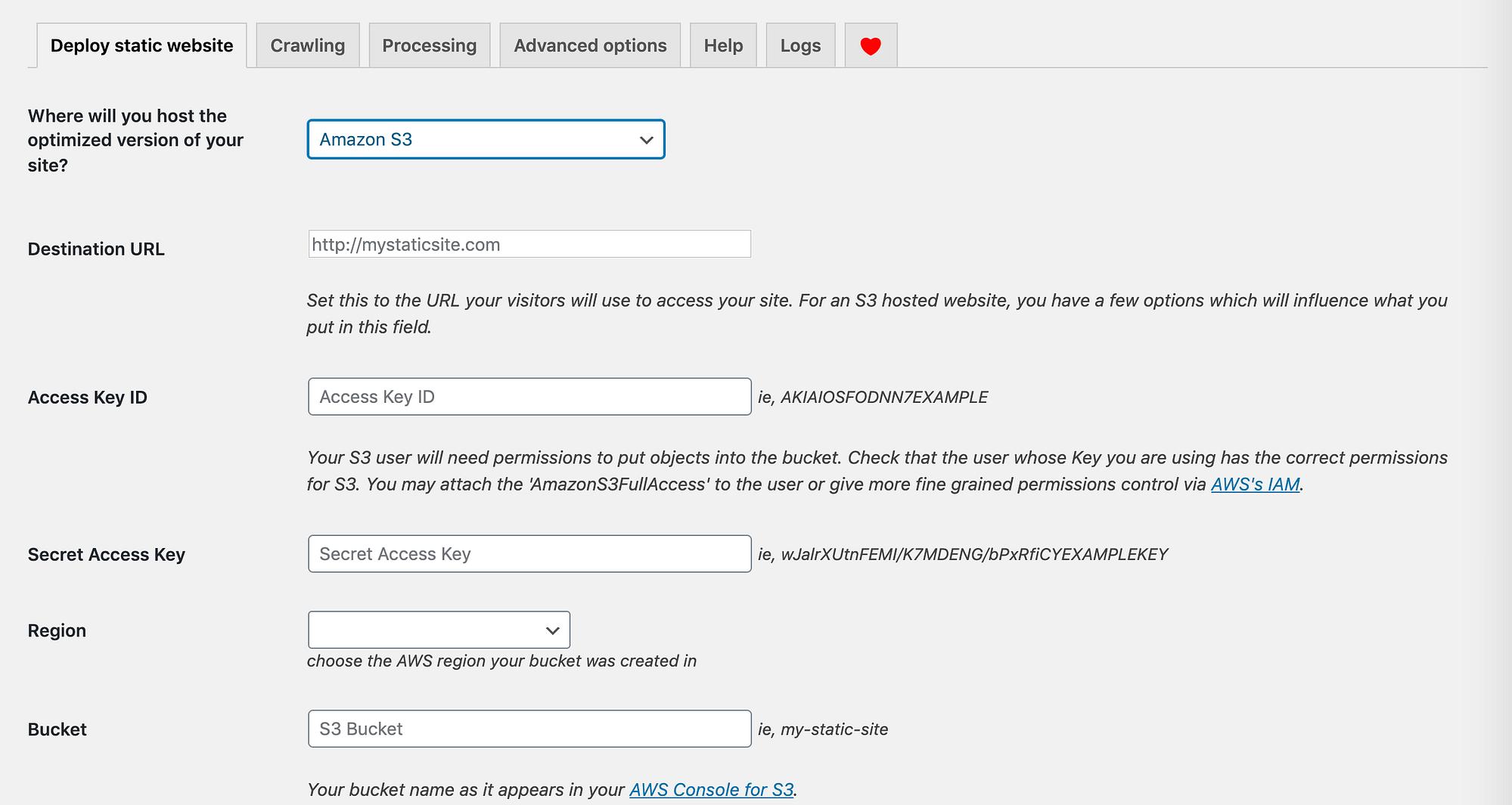 WP2Static Amazon S3设置配置字段。