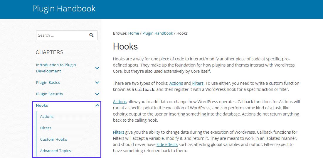 WordPress Hooks section in the Plugin Handbook