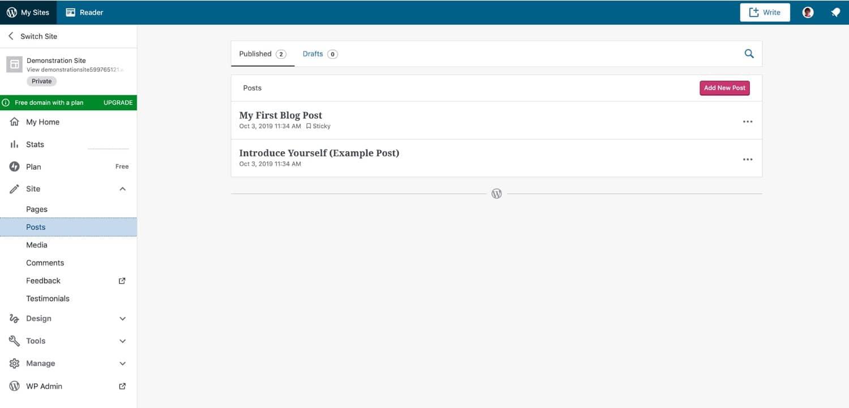 WordPressdotcom-interface