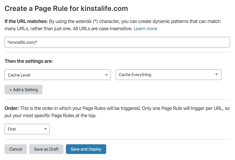 在Cloudflare中添加页面规则。