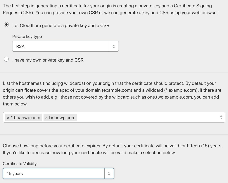 生成Cloudflare原始证书。