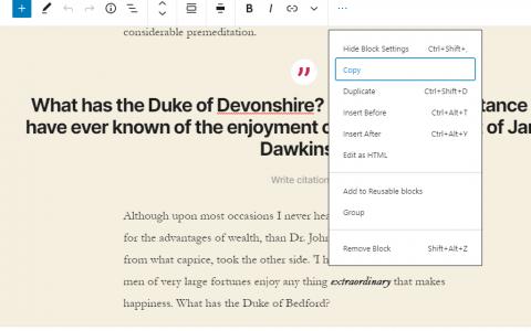 Gutenberg 8.1包括块复制,推荐样式和样式UI更新