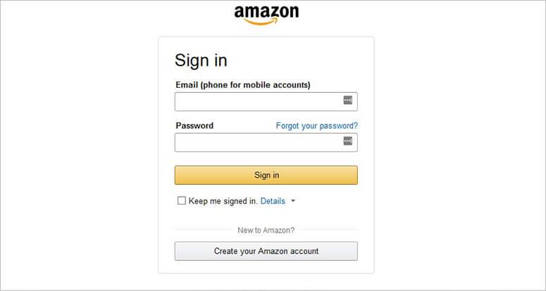 亚马逊的登录页面