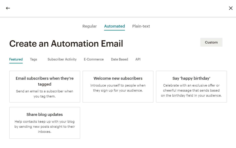 Mailchimp自动化功能。
