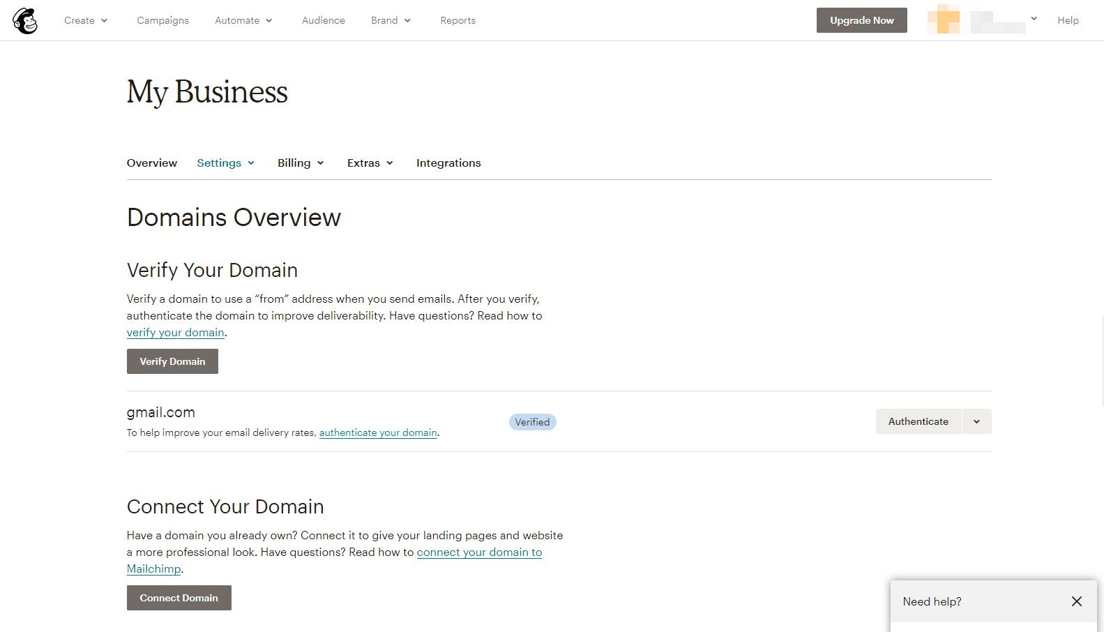 Mailchimp域名选项。