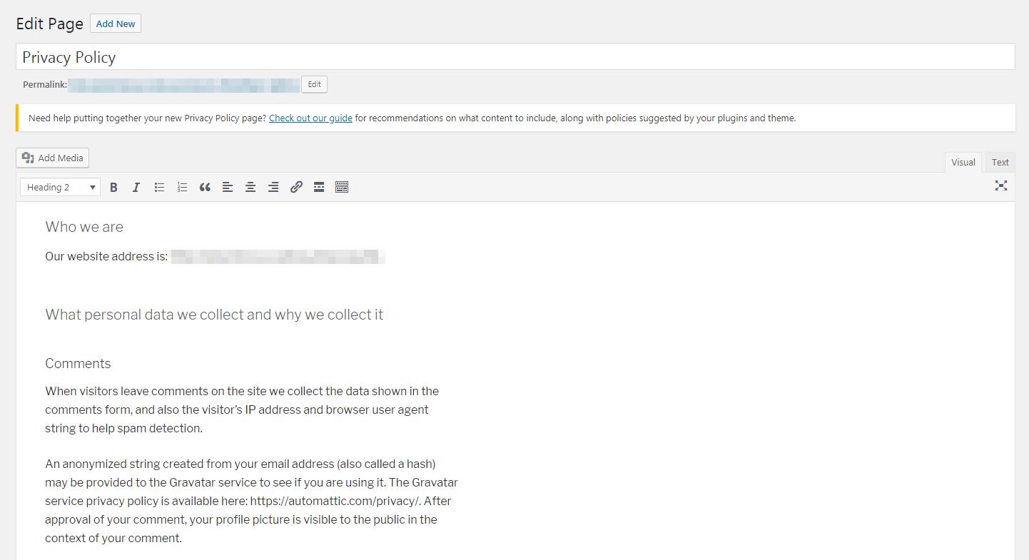 WordPress隐私策略模板。