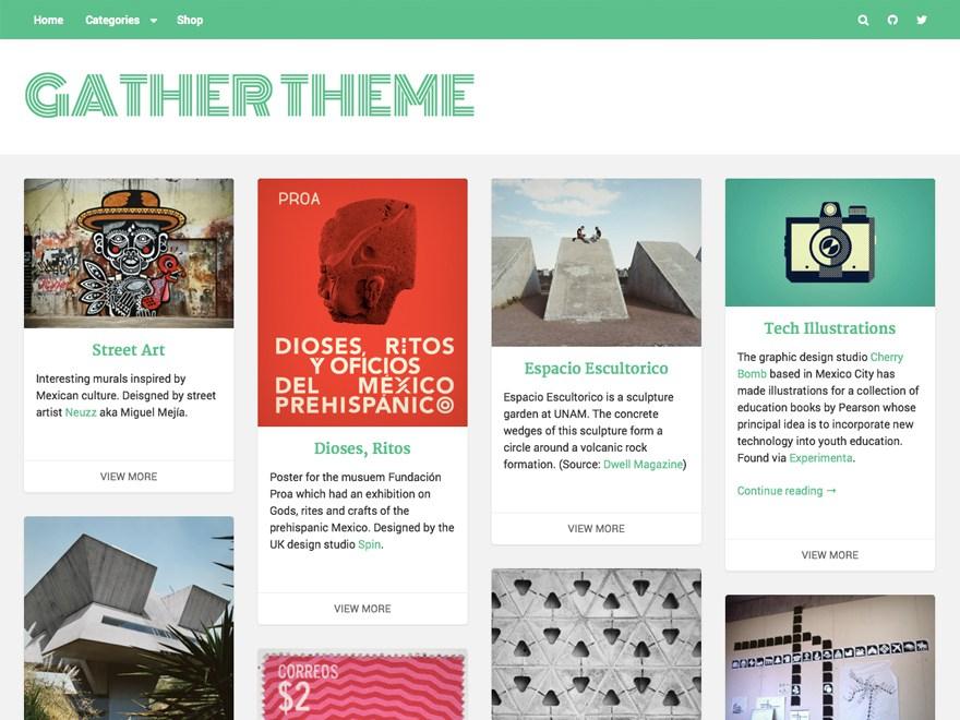 Gather的首页显示了对内容共享和消费的高度关注