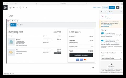 WooCommerce正在测试基于块的购物车和结帐