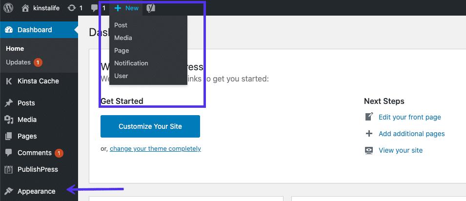 WordPress仪表板