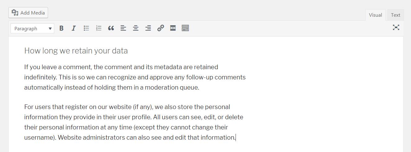 WordPress隐私政策中的默认信息。