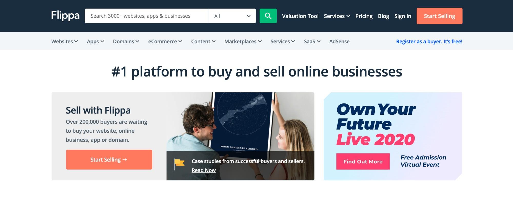 Flippa网站是购买高级域名的好地方