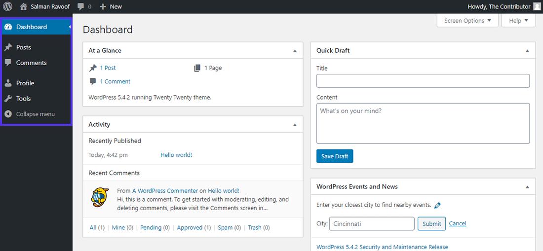 "WordPress中的""贡献者""角色仪表板"