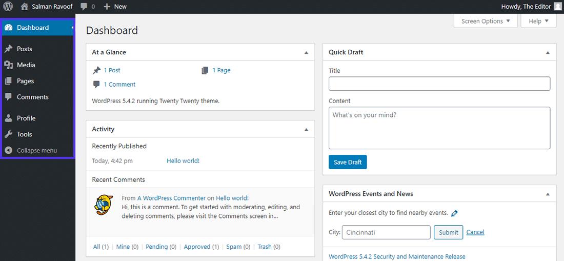 "WordPress中的""编辑""角色仪表板"