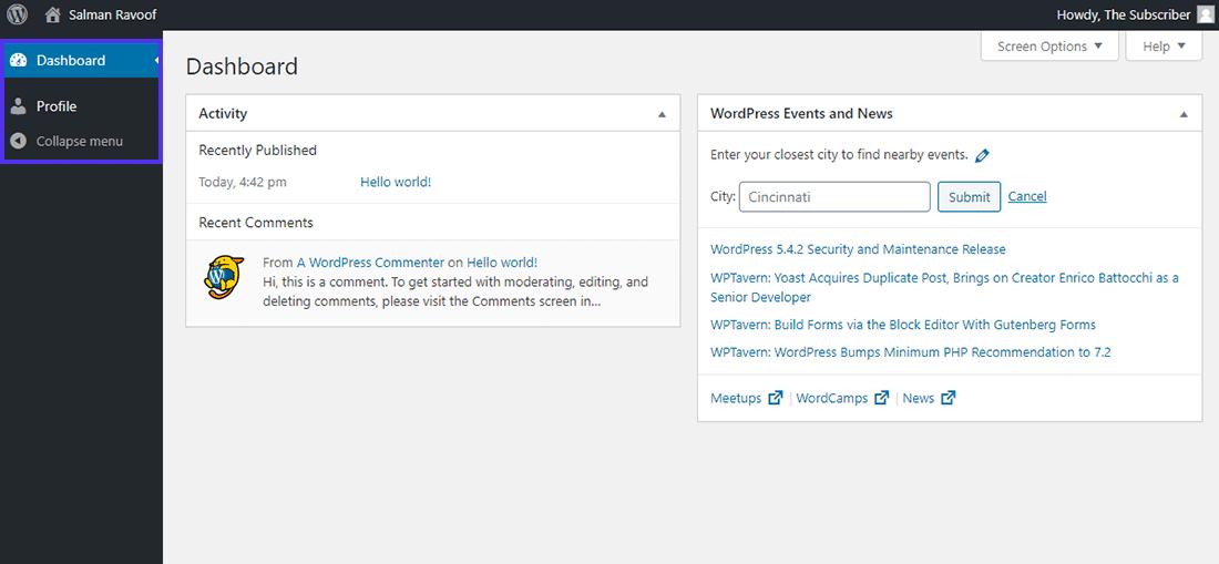 "WordPress中的""订阅者""角色仪表板"
