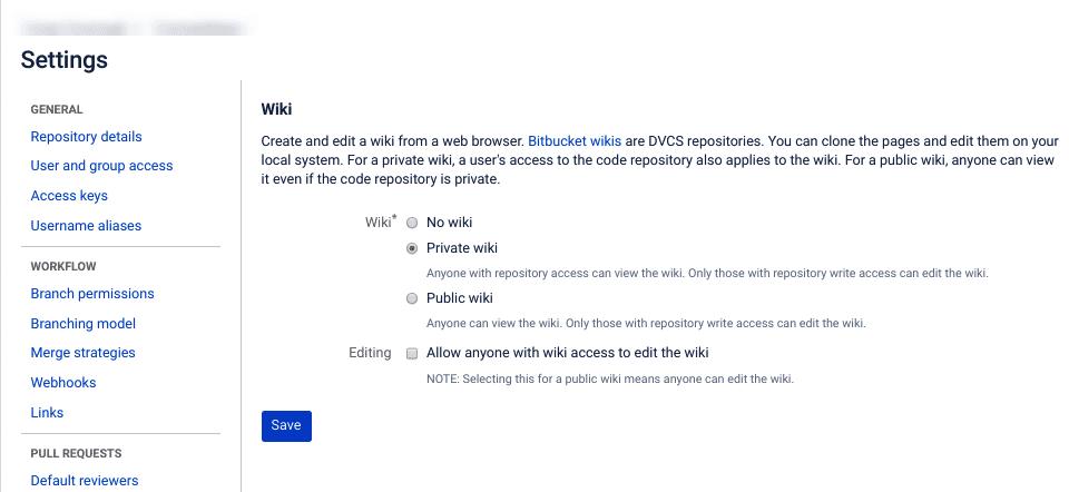 Bitbucket中的Wiki设置页面