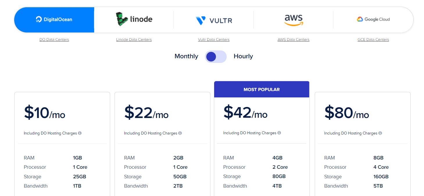 Cloudway定价的一些示例。