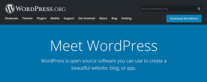WordPress网站主页。